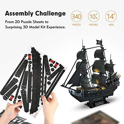 Cubicfun Puzzle 3d Queen Annes Revenge Grande Modello Di Nave Pirata Con Led 340 Pezzi 0 1