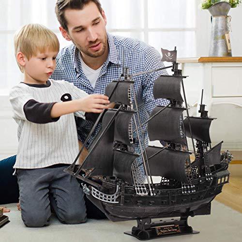 Cubicfun Puzzle 3d Queen Annes Revenge Grande Modello Di Nave Pirata Con Led 340 Pezzi 0 2