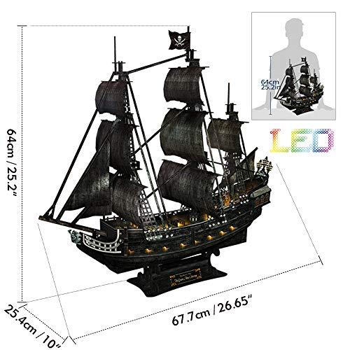 Cubicfun Puzzle 3d Queen Annes Revenge Grande Modello Di Nave Pirata Con Led 340 Pezzi 0 4
