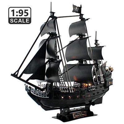 Cubicfun Puzzle 3d Queen Annes Revenge Grande Modello Di Nave Pirata Con Led 340 Pezzi 0