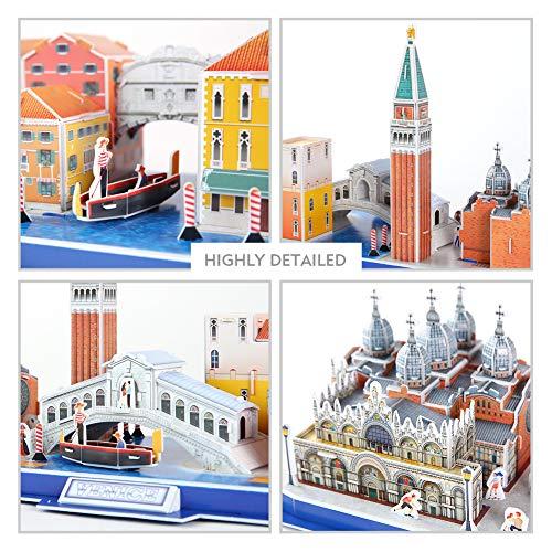 Cubicfun Puzzle 3d Venice City Skyline Puzzle Diy St Marks Square Kit Modello Di Edificio Italia Basilica Di San Marco E Torre Canal Grande 126 Pezzi 0 4