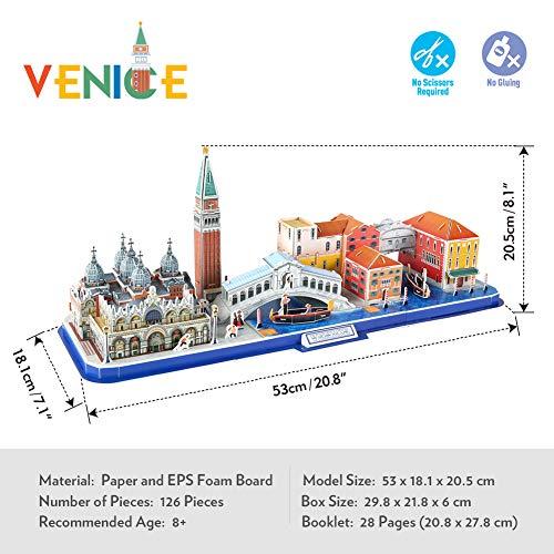 Cubicfun Puzzle 3d Venice City Skyline Puzzle Diy St Marks Square Kit Modello Di Edificio Italia Basilica Di San Marco E Torre Canal Grande 126 Pezzi 0 5