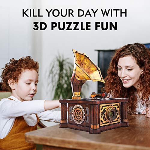 Cubicfun Puzzle 3d Per Adulti Bambini Fonografo Vintage Carillon Kit Modello Regalo Di Decorazione Per Donna E Uomo Castello Nel Cielo Melodia 66 Pezzi 0 1