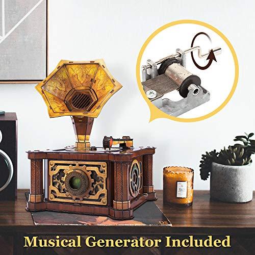 Cubicfun Puzzle 3d Per Adulti Bambini Fonografo Vintage Carillon Kit Modello Regalo Di Decorazione Per Donna E Uomo Castello Nel Cielo Melodia 66 Pezzi 0 2