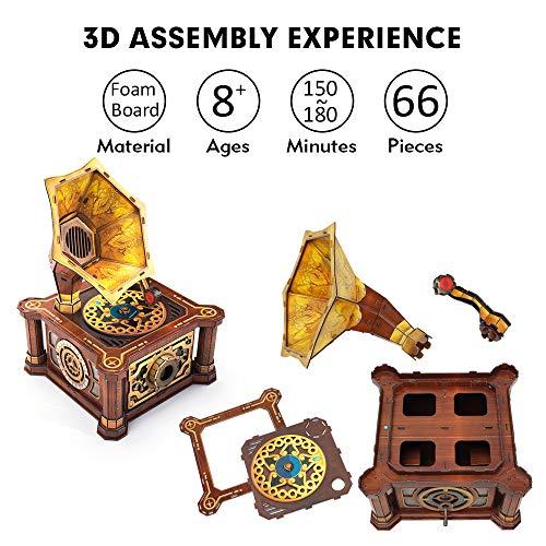 Cubicfun Puzzle 3d Per Adulti Bambini Fonografo Vintage Carillon Kit Modello Regalo Di Decorazione Per Donna E Uomo Castello Nel Cielo Melodia 66 Pezzi 0 3