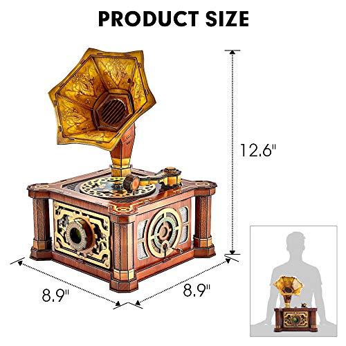 Cubicfun Puzzle 3d Per Adulti Bambini Fonografo Vintage Carillon Kit Modello Regalo Di Decorazione Per Donna E Uomo Castello Nel Cielo Melodia 66 Pezzi 0 4