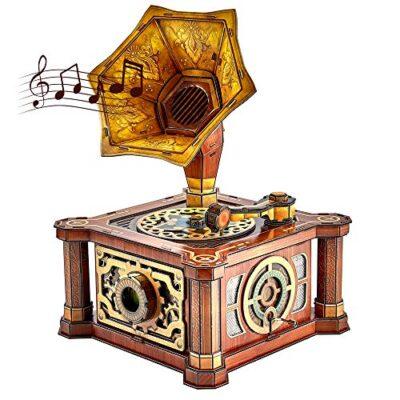 Cubicfun Puzzle 3d Per Adulti Bambini Fonografo Vintage Carillon Kit Modello Regalo Di Decorazione Per Donna E Uomo Castello Nel Cielo Melodia 66 Pezzi 0