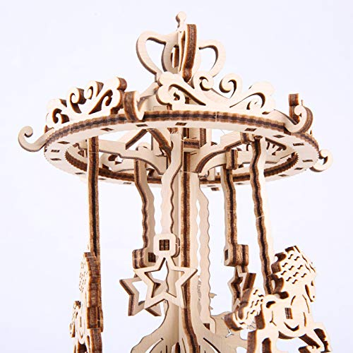 Gudoqi Puzzle 3d In Legno Tagliato A Laser Carosello Rotante Con Carillon Modello Meccanico Da Costruire Kit Artigianale Giocattolo Di Assemblaggio Fai Da Te Per Adolescenti E Adulti 0 0