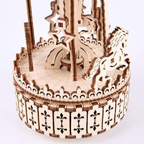 Gudoqi Puzzle 3d In Legno Tagliato A Laser Carosello Rotante Con Carillon Modello Meccanico Da Costruire Kit Artigianale Giocattolo Di Assemblaggio Fai Da Te Per Adolescenti E Adulti 0 1