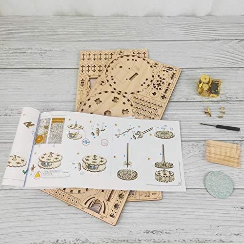Gudoqi Puzzle 3d In Legno Tagliato A Laser Carosello Rotante Con Carillon Modello Meccanico Da Costruire Kit Artigianale Giocattolo Di Assemblaggio Fai Da Te Per Adolescenti E Adulti 0 4