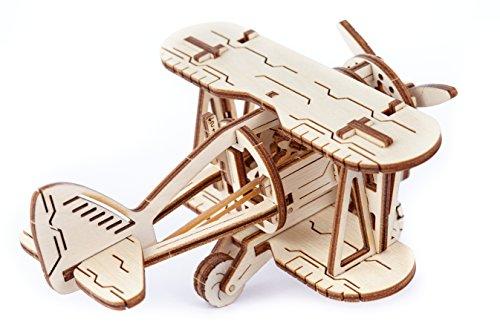 Puzzle 3d Meccanico Biplane By Woodencity Modellino Di Progetti Per Adulti E Bambini 3d Modello Tecnico In Legno 0 1