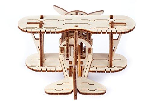 Puzzle 3d Meccanico Biplane By Woodencity Modellino Di Progetti Per Adulti E Bambini 3d Modello Tecnico In Legno 0 2