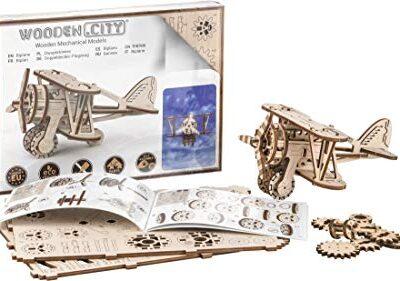 Puzzle 3d Meccanico Biplane By Woodencity Modellino Di Progetti Per Adulti E Bambini 3d Modello Tecnico In Legno 0