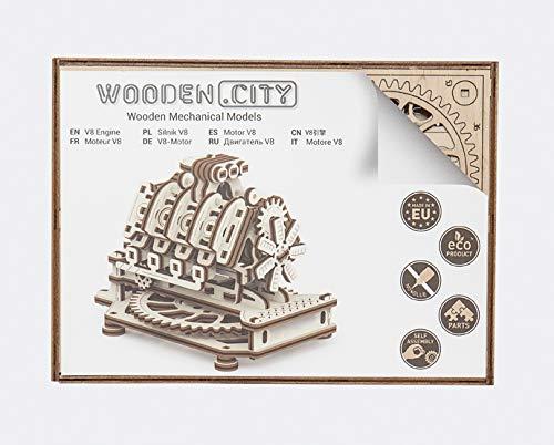 Puzzle 3d Meccanico V8 Engine By Woodencity Modellino Di Progetti Per Adulti E Bambini 3d Modello Tecnico In Legno 14 X 10 X 107 Cm 0 4