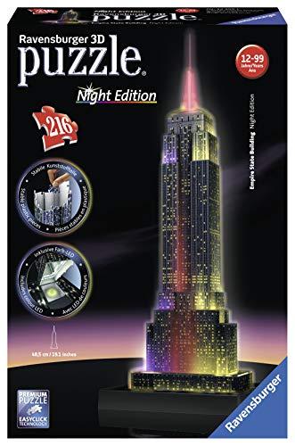 Ravensburger Puzzle 3d Empire State Building Edizione Speciale Notte 216 Pezzi Colore Nero 12566 1 0 2