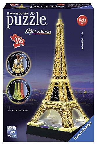 Ravensburger Tour Torre Eiffel Puzzle 3d Con Led Edizione Speciale Notte 216 Pezzi Multicolore 12579 0