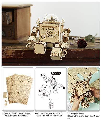 Robotime Build Robot Music Box Kit Puzzle 3d In Legno Tagliato A Laser Kit Modello Adulti San Valentino Creativo Compleanno Per Ragazzi E Ragazze 0 2