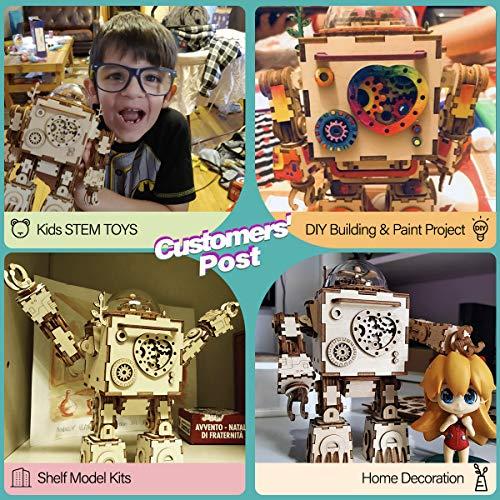 Robotime Build Robot Music Box Kit Puzzle 3d In Legno Tagliato A Laser Kit Modello Adulti San Valentino Creativo Compleanno Per Ragazzi E Ragazze 0 3