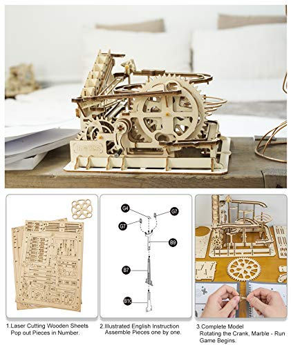 Robotime Puzzle In Legno Tagliato Al Laser Kit Modello Set Costruzione 3d Puzzle Gioca Waterwheel Coaster 0 1
