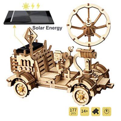 Robotime Solar Powered Stem Toys Taglio Laser Kit Modello Di Auto Robot Fai Da Te Puzzle In Legno 3d Et 14 Puzzle 3d Adulto Moon Buggy 0