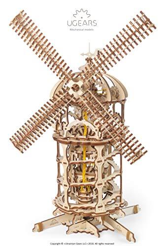 Ugears 3d Turm Windmhle Holzpuzzle Modellbau Set Denkspiel Diy Puzzle Lernspielzeug Umweltfreundlicher Holz Modellbausatz Fr Erwachsene Kinder Modellino In Legno Colore Beige 70055 0 1