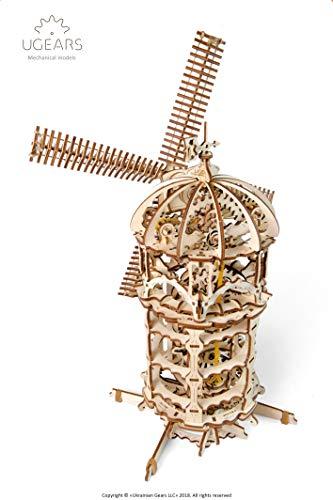 Ugears 3d Turm Windmhle Holzpuzzle Modellbau Set Denkspiel Diy Puzzle Lernspielzeug Umweltfreundlicher Holz Modellbausatz Fr Erwachsene Kinder Modellino In Legno Colore Beige 70055 0 2