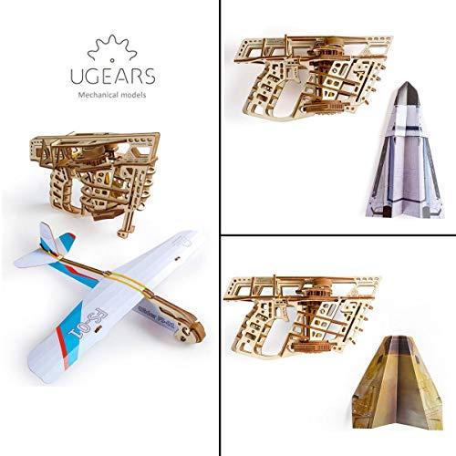 Ugears Flugzeug Starterrampe Modellbausatz Modellbauksten Fr Erwachsene Jugendliche Lasergeschnittener 3d Puzzle Di Legno Colore 0 3