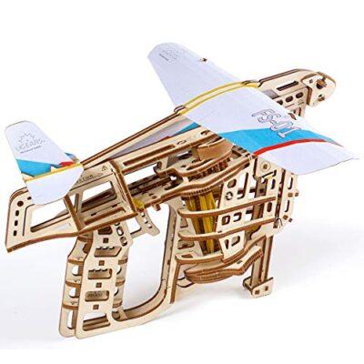 Ugears Flugzeug Starterrampe Modellbausatz Modellbauksten Fr Erwachsene Jugendliche Lasergeschnittener 3d Puzzle Di Legno Colore 0