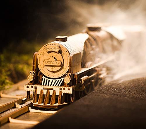 Ugears Modello Di Treno In Legno 3d Locomotiva Tender Binari Meccanico Puzzle Per Adulti Rompicapo Da Costruire Da Collezionare 0 0