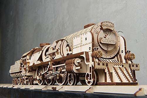 Ugears Modello Di Treno In Legno 3d Locomotiva Tender Binari Meccanico Puzzle Per Adulti Rompicapo Da Costruire Da Collezionare 0 1