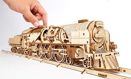 Ugears Modello Di Treno In Legno 3d Locomotiva Tender Binari Meccanico Puzzle Per Adulti Rompicapo Da Costruire Da Collezionare 0 3