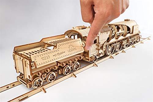Ugears Modello Di Treno In Legno 3d Locomotiva Tender Binari Meccanico Puzzle Per Adulti Rompicapo Da Costruire Da Collezionare 0 4