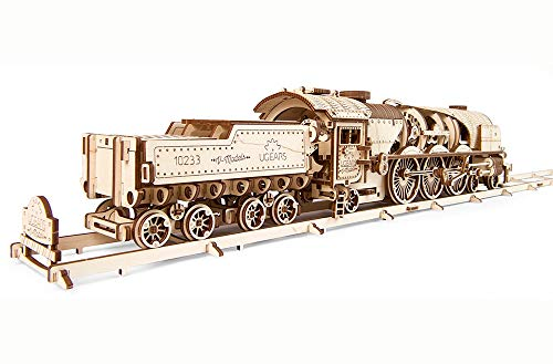 Ugears Modello Di Treno In Legno 3d Locomotiva Tender Binari Meccanico Puzzle Per Adulti Rompicapo Da Costruire Da Collezionare 0 5