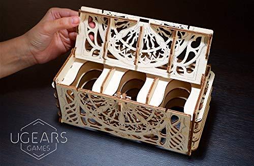 Ugears Porta Carte Da Gioco Card Holder Puzzle 3d Rompicapo Legno Fai Da Te Scatola Cofanetto Supporto Per 12 Mazzi Carte Per Giochi Di Tavolo 0 1