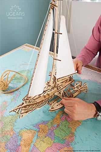 Ugears Trimarano A Vela Merihobus Modello In Legno 3d Puzzle Per Adulti Modello Meccanico Rompicapo Da Costruire Da Collezionare 0 5