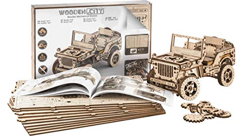 Wooden City Auto 4x4 3d Puzzle Modello Meccanico Di Legno 109 X 59 X 24 Bianco 0