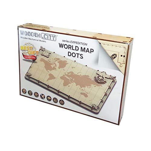 Wooden City Puzzle Di Legno Puzzle 3d World Map Expedition Series Dots 40 Pezzi 0