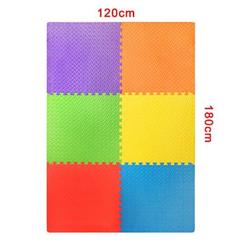 Assemblemat Tappeto Per Esercitazioni Palestra Garage Baby Room 12mm Eva 6 Piastrelle 24 Piedi Quadrati Multicolore 0 0
