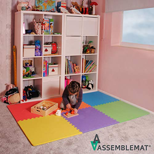 Assemblemat Tappeto Per Esercitazioni Palestra Garage Baby Room 12mm Eva 6 Piastrelle 24 Piedi Quadrati Multicolore 0 2