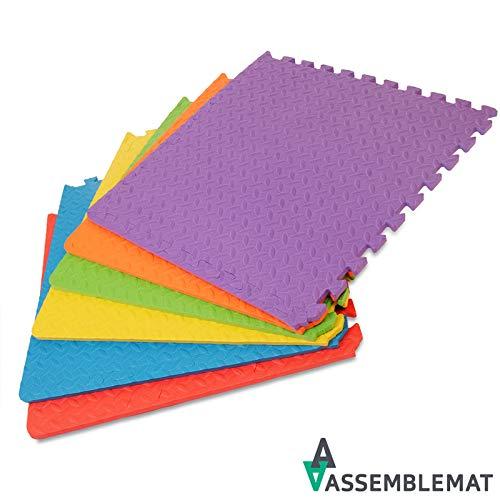 Assemblemat Tappeto Per Esercitazioni Palestra Garage Baby Room 12mm Eva 6 Piastrelle 24 Piedi Quadrati Multicolore 0 5