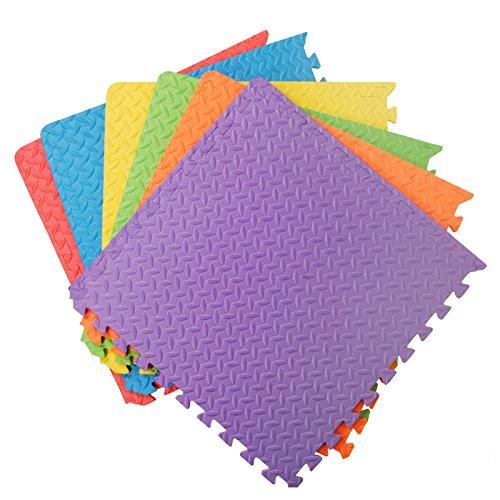Assemblemat Tappeto Per Esercitazioni Palestra Garage Baby Room 12mm Eva 6 Piastrelle 24 Piedi Quadrati Multicolore 0