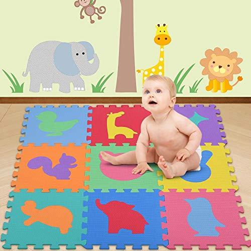 Bakaji Tappeto Puzzle Colorato In Morbida Gomma Eva Resistente Isolante Lavabile Tappetino Da Gioco Per Bambini 10 Pz Animali 0 0