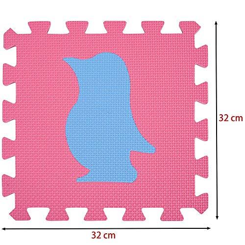 Bakaji Tappeto Puzzle Colorato In Morbida Gomma Eva Resistente Isolante Lavabile Tappetino Da Gioco Per Bambini 10 Pz Animali 0 3