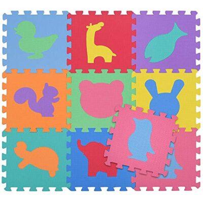 Bakaji Tappeto Puzzle Colorato In Morbida Gomma Eva Resistente Isolante Lavabile Tappetino Da Gioco Per Bambini 10 Pz Animali 0