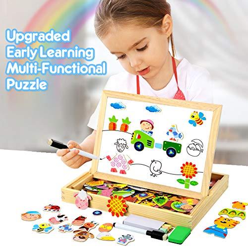 Cooljoy Puzzle Magnetico Legno Giocattolo Di Legno Bambini Regalo Con Lavagna Double Face Apprendimento Educativo Puzzle Magnetica Lavagna Legno 100 Pezzi Puo Attaccare Sul Frigorifero 0 1