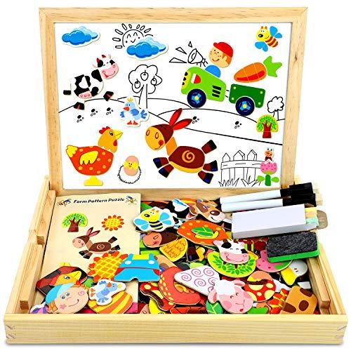 Cooljoy Puzzle Magnetico Legno Giocattolo Di Legno Bambini Regalo Con Lavagna Double Face Apprendimento Educativo Puzzle Magnetica Lavagna Legno 100 Pezzi Puo Attaccare Sul Frigorifero 0
