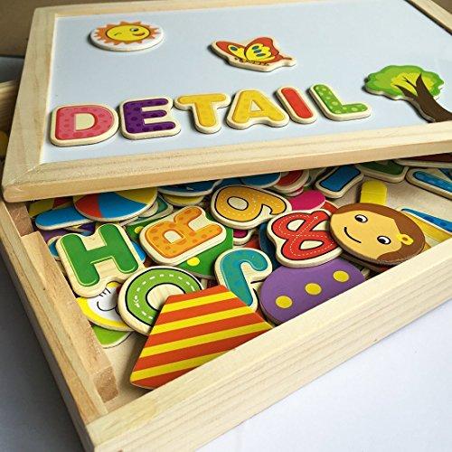 Cooljoy Puzzle Magnetico Legno Giocattolo Di Legno Bambini Con Double Face Disegno Cavalletto Lavagna Apprendimento Educativo Per Bambini Modello Numerico 0 0
