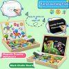 Cooljoy Puzzle Magnetico Legno Giocattolo Di Legno Bambini Con Double Face Disegno Cavalletto Lavagna Apprendimento Educativo Per Bambini Modello Numerico 0 1