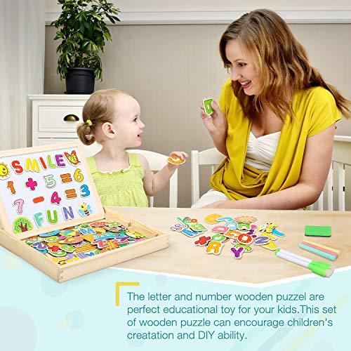Cooljoy Puzzle Magnetico Legno Giocattolo Di Legno Bambini Con Double Face Disegno Cavalletto Lavagna Apprendimento Educativo Per Bambini Modello Numerico 0 2