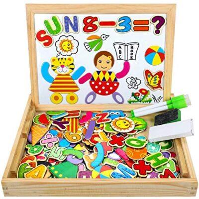 Cooljoy Puzzle Magnetico Legno Giocattolo Di Legno Bambini Con Double Face Disegno Cavalletto Lavagna Apprendimento Educativo Per Bambini Modello Numerico 0